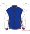 Varsity-City Jacket - Blue and White with Orange